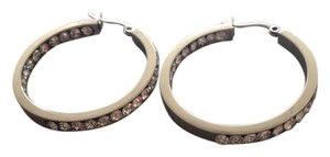 Other Austrian Crystal White Gold Inside/Outside ION Plated Hoop Earrings