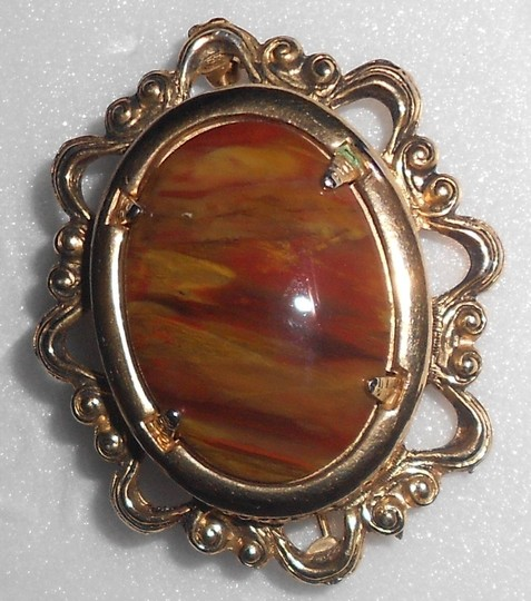 Other Large Vintage Pin Wiith Jasper Stone Almost 2