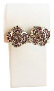 Brand New Silver Floral Earrings with Pink Gems