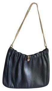 Ande' Vintage Navy Leather Leather Navy Leather Navy Clutch Vintage Gold Hardware Chain Leather Clutch Shoulder Bag