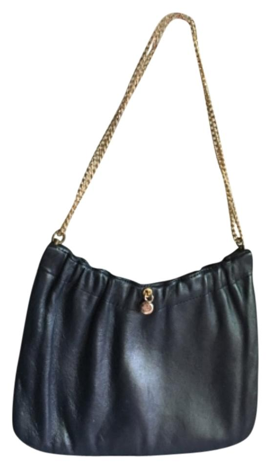 Ande  Vintage Navy Leather Leather Navy Leather Navy Clutch Vintage Purse  Gold Hardware Chain Leather ...