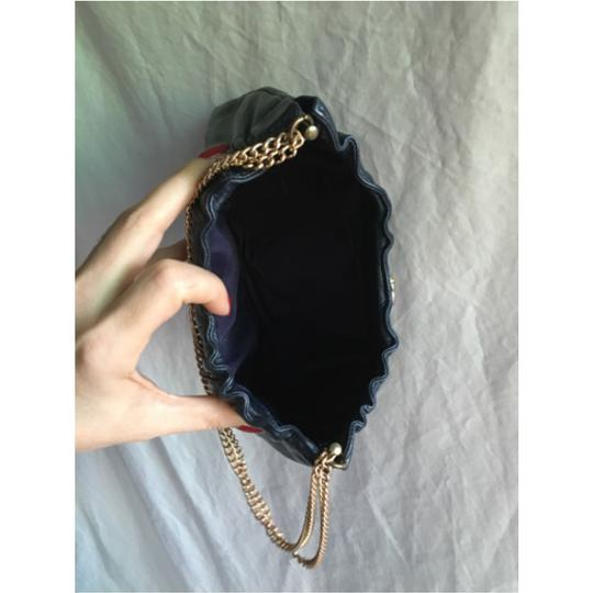 Ande' Vintage Navy Leather Leather Navy Leather Navy Clutch Vintage Purse Gold Hardware Chain Leather Clutch Shoulder Bag