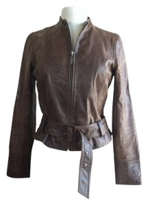 Mossimo Supply Co. Leather Belted Chocolate Brown Leather Jacket