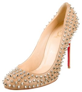 Christian Louboutin Beige Tan Nude Leather Beige, Silver Pumps