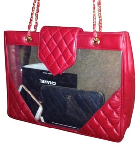 Chanel Tote in clear and red