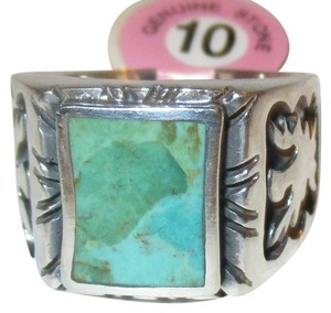 Other Mens or Ladies 11 Gram Genuine 925 Sterling Silver Natural Blue Turquoise Phoenix Engraved Ring Size 10
