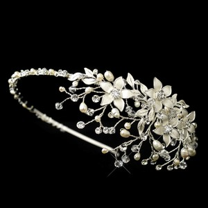 Elegance by Carbonneau Silver/Ivory Pearl Floral Headband Hair Accessory