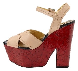 Kelsi Dagger Sandal And In Box Tan/red Platforms
