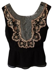 French Connection Beaded Top Black