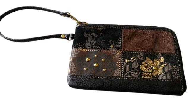 Item - Black Brown Gray Leather and Suede Wristlet