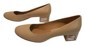 Salvatore Ferragamo Leather Italian Heels Designer Nude Pumps
