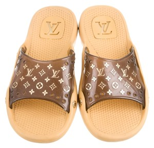 a06522c5aa4 Louis Vuitton Rubber Jelly Hardware Print Lv Logo Monogram Perforated  Embellished Textured Slide Flat 40 10