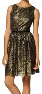 Shoshanna Lace Metallic Sheath Party Sparkle Structured Gold Evening Dress