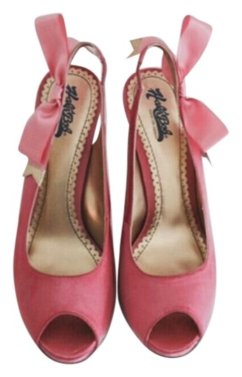 Hale Bob Slingback Party Wedding Bow Satin Peep Toe Pink Pumps