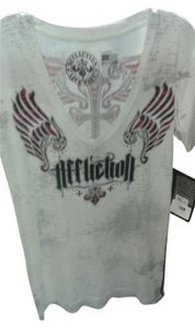 Affliction T Shirt white, pink and black