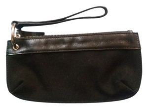 Banana Republic Leather Canvas Wristlet in Black