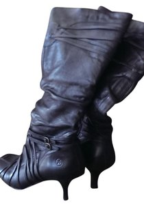Bronx Stiletto Knee High Black Leather Boots