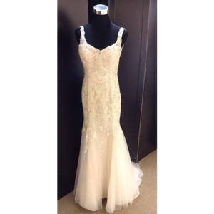 Maggie Sottero Light Gold/Champagne/Pewter Lace/Tulle Melissa Formal Wedding Dress Size 6 (S)