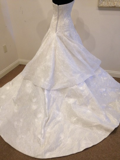 Ivory/ Silver Embroidered Taffeta Beatrice By Vintage Wedding Dress Size 10 (M) Image 1