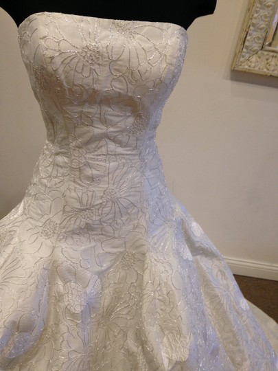 Ivory/ Silver Embroidered Taffeta Beatrice By Vintage Wedding Dress Size 10 (M) Image 2