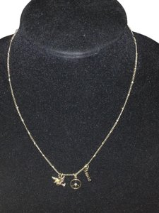 Vintage Gold tone (3) Charm Necklace Peace