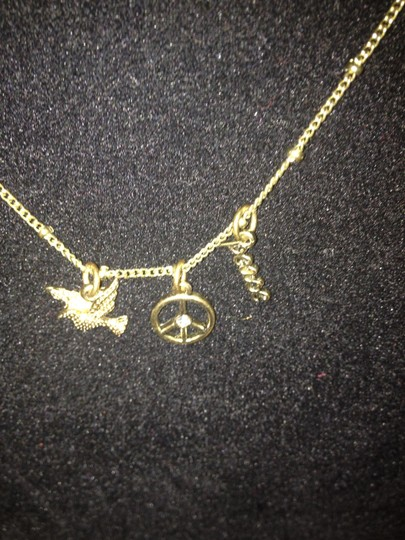 Other Vintage Gold tone (3) Charm Necklace Peace