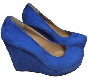 Soda Blu Royal Blue Wedges
