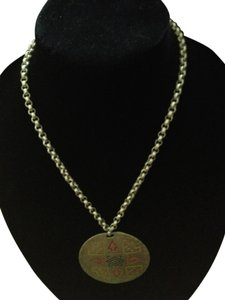 Vintage Silver tone red green yellow necklace