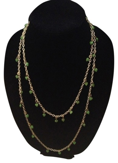 Other Vintage doublewrap heart green gold tone long necklace