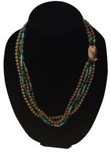 Other Vintage Gold Tone Teal (4) Strand Leaf Closure necklace