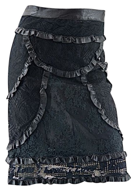 Preload https://item3.tradesy.com/images/cacharel-black-cotton-blend-lace-wruffle-leather-trim-fabulous-36-size-4-s-27-10163632-0-1.jpg?width=400&height=650