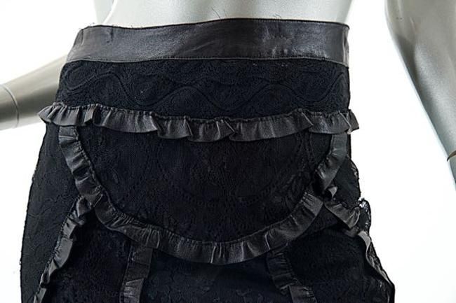 Cacharel Lace Ruffle Leather Skirt Black