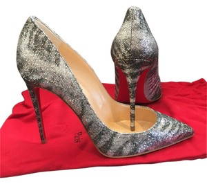 Christian Louboutin Size 38.5 Pigalle Silver Pumps