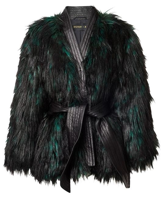 Item - Black and Touch Of Dark Green Balmain-hm-faux-fur-jackets Coat Size 6 (S)