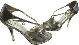 Guess By Marciano X Sexy Dorsey Open Sides Silver embossed leather criss cross foot ankle strap cut outs ombre stiletto heels Sandals