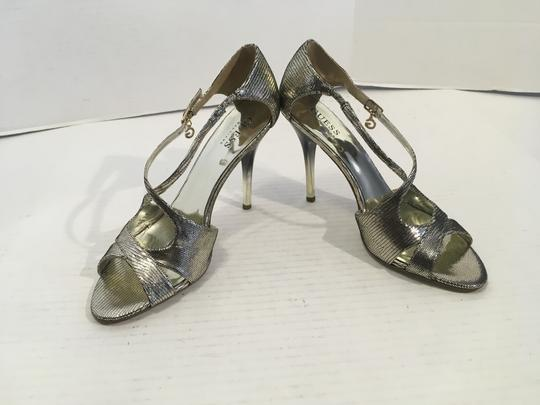 Guess By Marciano X Cross Sexy Dorsey Open Sides NEW silver embossed leather foot ankle strap cut outs ombre stiletto heels Sandals