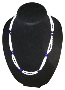 Other White Blue bead eye double strand necklace