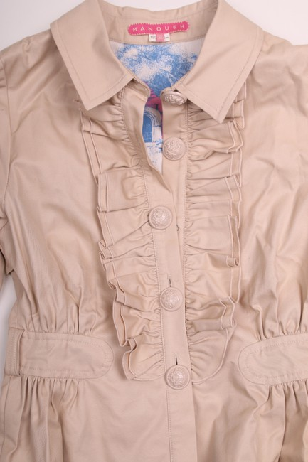 Manoush Cotton Ruffle Peplum Khaki Jacket