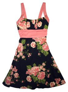 B. Smart short dress Black, Peach, Green floral on Tradesy