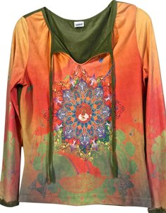 Love Amour Pull-over Long Sleeve Top Orange with multi color design