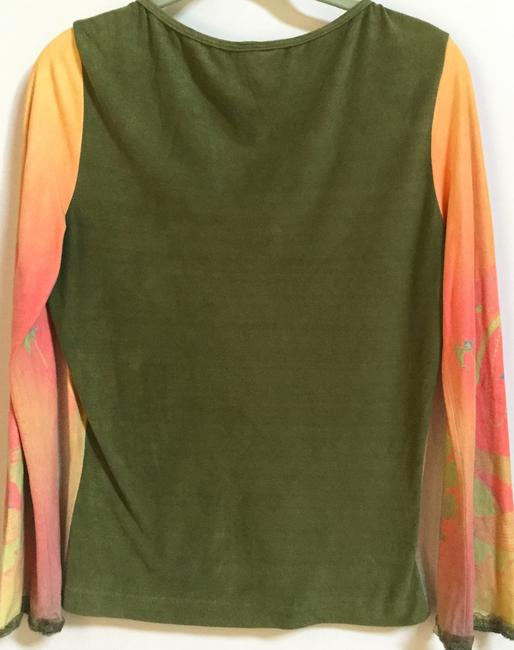Love Amour Pull-over Long Sleeve Women's Meduim Top Orange with multi color design