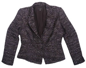 Ann Taylor Tweed Wool Black Multi Single Button Fitted Short Jacket Purple Multi Blazer