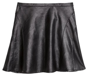 H&M Vegan Faux Short Flare Polyurethane Mini Skirt Imitation Black Leather