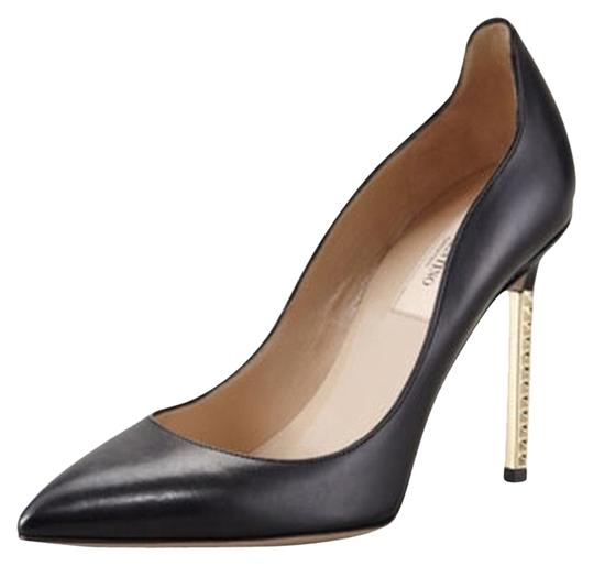 Valentino Studded Metal Golden Leather Padded Pointed Toe Black Pumps
