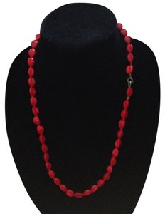 Vintage long red concave bead necklace