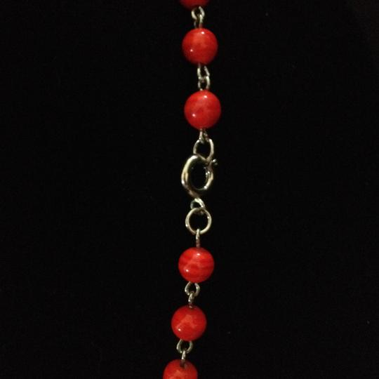Other Vintage long red concave bead necklace
