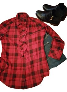 Gap Plaid Button Down Ruffles Button Down Shirt Red and Black