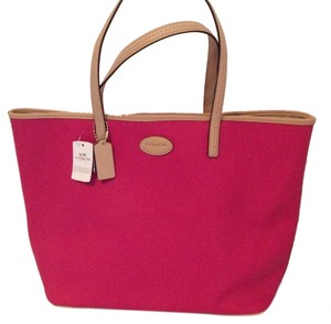 Coach Metro Leather Tote in Pink Ruby