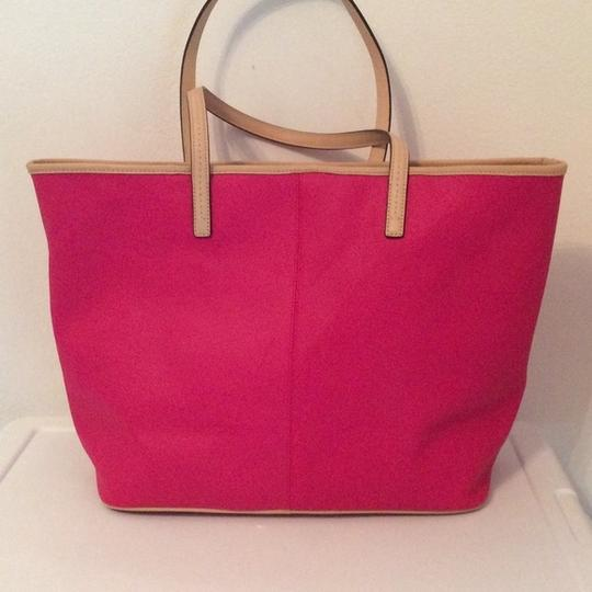 Coach Metro Leather Crossgrain Tote in Pink Ruby