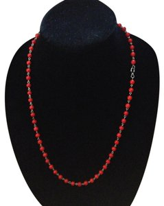 Other Vintage silver tone red bead necklace